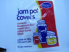 JAM POT COVERS for 25 x 500g (1lb)  jars - with rubber bands and labels