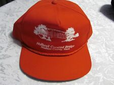 Vintage Holliwell Covered Bridge Baseball Hat Madison County Iowa Red Cap Snap