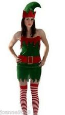 Elf Costume Santa's Little Helper Womens Christmas Xmas Pixie Fancy Dress Outfit