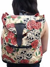 BACKPACK  STYLE WITH SKULLS ROSE TATTOO DAY OF THE DEAD SKELETON PATTERN, BEIGE
