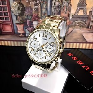 AUTHENTIC GUESS LADIES' MINI SUNRISE WATCH STONE GOLD  Brand New RRP:$349