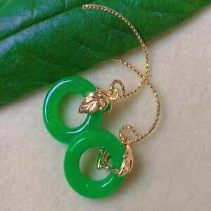Fashion natural big green jadeite ring gold earrings Party Wedding