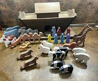 Antique Childs Folk Art Wooden Noahs Ark Toy w Animals ~ Vintage Craftsman made