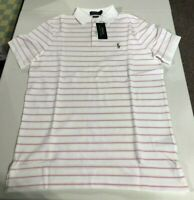 Men's SZ L Ralph Lauren Iconic Mesh Striped Polo Shirt Classic FIT White Pink