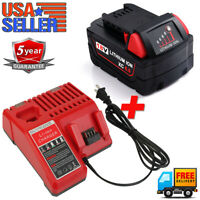 For Milwaukee M18 XC 6.0AH Battery + 12V-18V M12 M14 M18 Li-ion Battery Charger