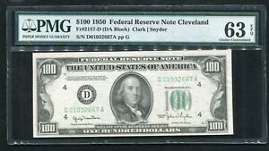 FR. 2157-D 1950 $100 FEDERAL RESERVE NOTE CLEVELAND, OH PMG UNC-63EPQ (2of6)