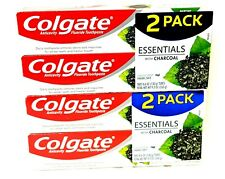 Colgate (Lot Of 4) Essentials With Charcoal  4.6 OZ Each Fresh Mint Enamel Safe