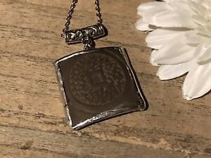 Recycled Broken Porcelain Jewelry, Large Asian Yixing Brown Clay Pendant