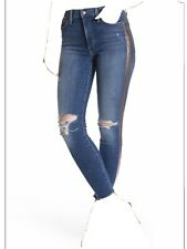 Joe's Jeans The Charlie High Rise Skinny Ankle Jeans Metallic Stripe Frayed 27