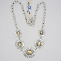 lucky brand vintage jewelry two tone sun flower charm link necklace bib cluster