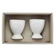 Gisela Graham Set 2 Ceramic White Heart Egg Cups Gift Box Easter Wedding 37349