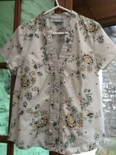 Wallis: Pretty Cream Floral Printed Poly Cotton top / blouse, UK14 Ex Cond