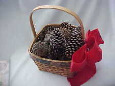 """Large Basket with Pine Cones With Solid Red Ribbon Attached 13"""" Tall 9"""" Across"""