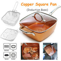 "4Pcs Set Copper 9.5"" Square Non Stick Frying Pan w/ Basket Steam Rack Glass Lid"