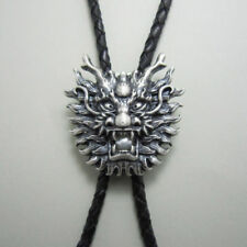 Silver Plated Dragon Head White Pearl Western Cowboy Rodeo Bolo Tie