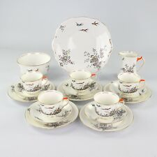 More details for lawleys china, art deco tea set, black leafy tree with birds