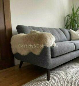 Real Sheepskin Rug Oyster Beige Natural Soft Plush Genuine Thick Fur Rug 100cm+