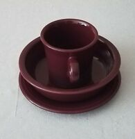 Fiesta Homer Laughlin Claret Wine Burgundy Coupe Soup Bowl Mug Small Plate Set