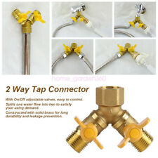 "2 Way Twin Double Tap Hose Adapter Splitter Brass Outdoor Connector 1/2"" Adapter"