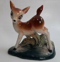Vintage Big Eye Deer Spotted Bambi Fawn MCM Ceramic Figurine in Grass Woodland