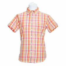 Men's Button Down Short Sleeve Check Polycotton Casual Shirts & Tops