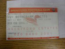 11/11/2000 billet: Brentford V Rotherham United. aucun défauts avec cet objet Hav