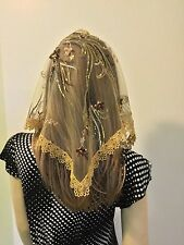 Exquisite Brown Ivory Gold Veil Lace Mantilla Mother of the Bride sequined - Sm
