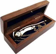 Brass Boatswain Navy Ship Bosun's Whistle w Chain Wooden Box Anchor Nautical