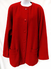 JAEGER Womens Red Wool Batwing Button Coat 10 12 14 XL