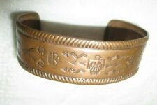 OLD PAWN SOLID COPPER BRASS EAGLE CUFF STAMPED WIDE BRACELET
