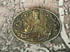 "Vintage Solid Brass Belt Buckle ""In Cattle For Keeps"" Syntex ADM 1988 1359"