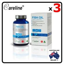 3 x Careline Blue Summit Australia Omega 3 Fish Oil 1000mg 300 Capsules EPA DHA