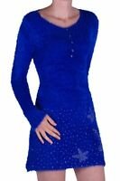 Womens Casual Long Sleeve Scoop Neck Wool Stretch Knitted Jumper Mini Dress