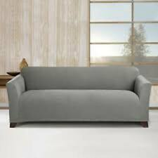 Sure Fit Stretch Stripe 1pc Sofa Slipcover Box Seat Cushion in Gray