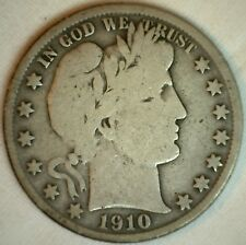 1910 S  Barber Silver Half Dollar 50 Cent US Type Coin VG Very Good K