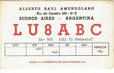 Old QSL from LU8ABC, Alberto Raul Amendolaro, Buenos Aires, Argentina (1967)