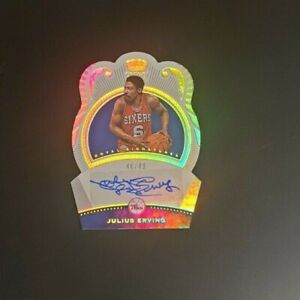 Julius Erving 2020-21 Panini Crown Royale Royal Signatures Auto 46/49 76ers DrJ