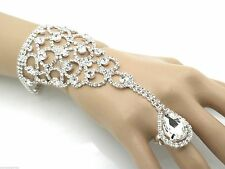 Rhinestone Bracelet Attached Woman's Ring Attached Ladies Slave