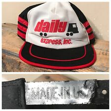 Vintage 3 Stripe Trucker Hat Daily Express Inc snapback Made in Usa red black