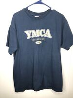 Vtg YMCA Shirt 90s Graphic Tee Mens Large Blue Short Sleeve Free Shipping