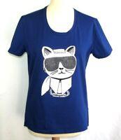 KARL LAGERFELD Tee-shirt Choupette lunettes coton bleu TS 36
