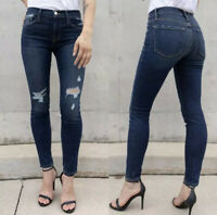 NWT Frame Denim Le Skinny de Jeanne 27 Distressed Jeans Dark Wash Wriley Midrise