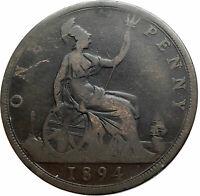 1894 UK Great Britain United Kingdom QUEEN VICTORIA Genuine Penny Coin i79492
