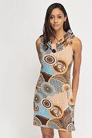 Womens Multi  Geo print Cowl neck Sleeveless Knitted Pockets Tunic stretch Dress