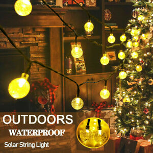 6.5M 30 LED Solar String Lights Crystal Balls Outdoor Garden Party Wedding Decor