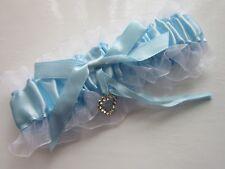 Gorgeous LACE & BLUE RIBBON GARTER | Sparkly Heart | bride Wedding