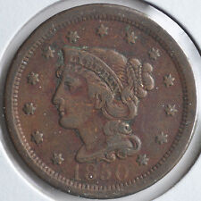 1850 1C Braided Hair Large Cent Early Copper Original Circulated Fine