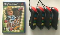 Ps2 - Buzz Sports Quiz + Set Of 4 Wired Buzzers - PlayStation 2