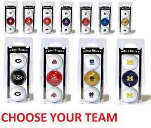 Offically Licensed NCAA 3 Pack Golf Balls Team Color Choose Your Team