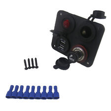 Multifunction 4 Hole Panel Switch Dual USB 12V Cigarette Lighter Socket For Car